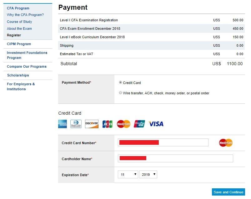 پرداخت هزینه آزمون CFA | تهران کردیت کارت