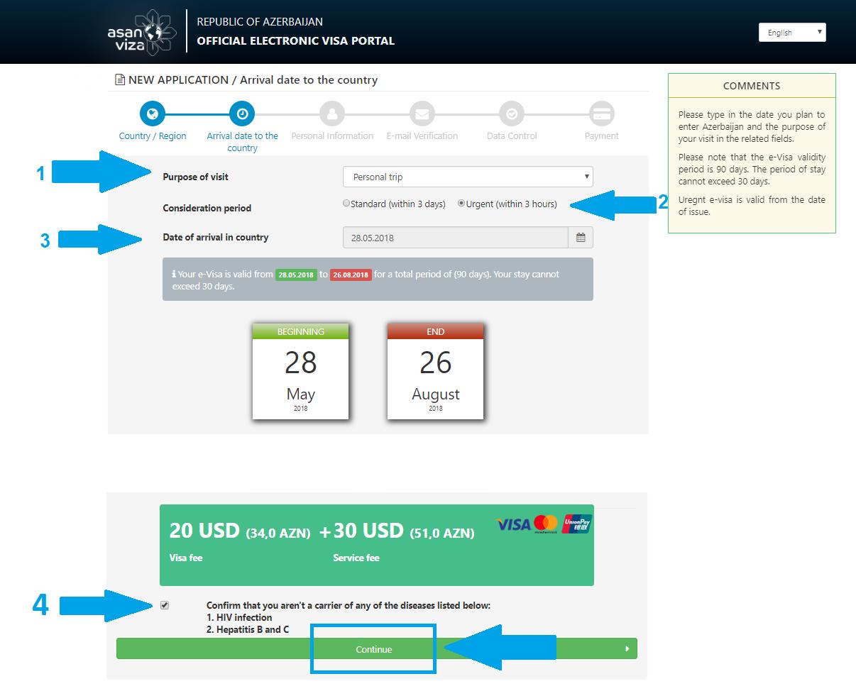 پرداخت هزینه ویزای الکترونیکی (e-Visa) آذربایجان | تهران کردیت کارت