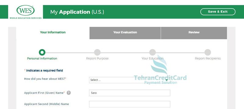 ثبت نام موسسه ارزیابی مدارک WES | تهران کردیت کارت