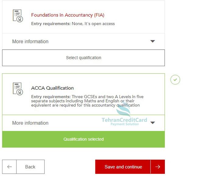 پرداخت هزینه آزمون ACCA | تهران کردیت کارت