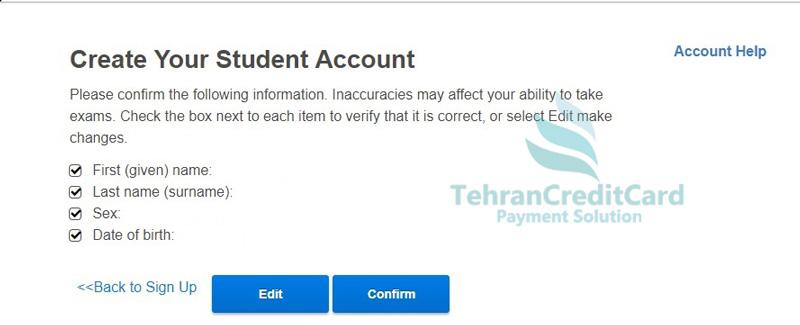 پرداخت آزمون زبان SAT | تهران کردیت کارت