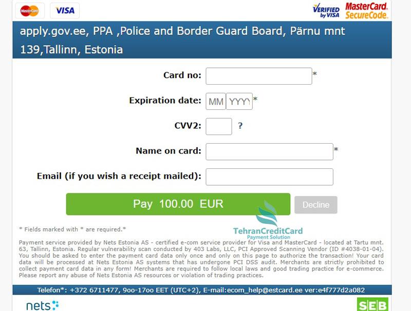 پرداخت آنلاین اقامت استونی| تهران کردیت کارت